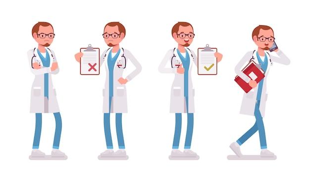 Mannelijke arts. man in ziekenhuis uniform met patiënt kaart, druk praten over de telefoon, met de handen in de zij. geneeskunde, gezondheidszorgconcept. stijl cartoon illustratie op witte achtergrond Premium Vector