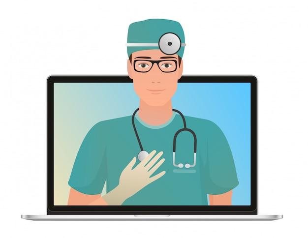 Mannelijke arts met online medisch consult concept, gezondheidszorg. vraag een arts online via een laptop. Premium Vector