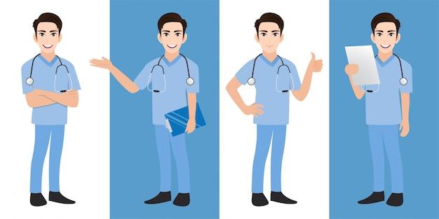 Mannelijke arts stripfiguur set Premium Vector
