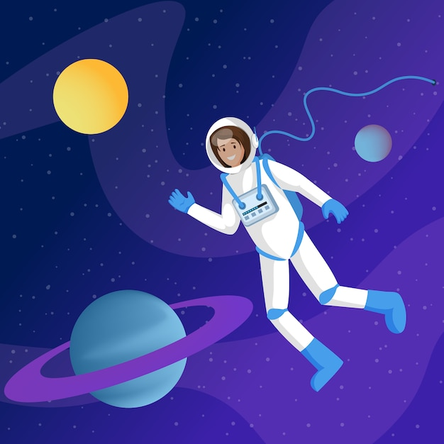 Mannelijke astronaut in de ruimte Premium Vector
