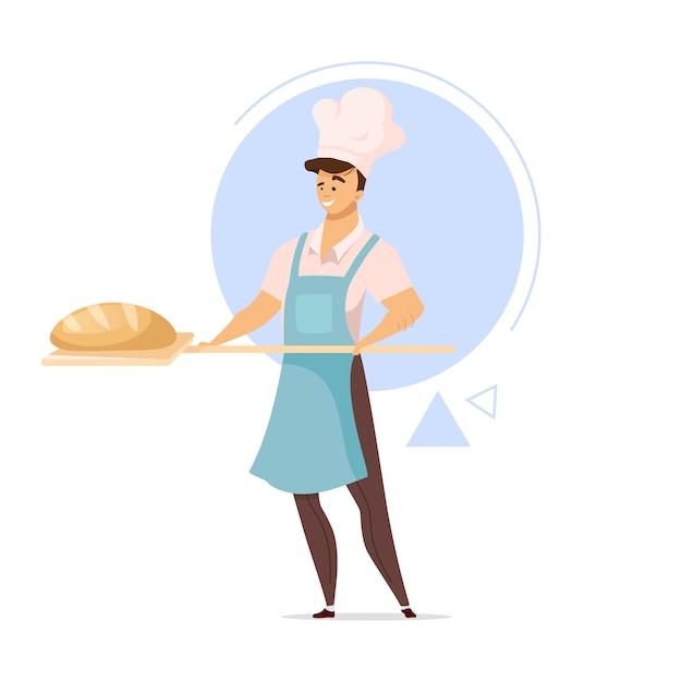 Mannelijke bakker met brood platte ontwerp kleur illustratie Premium Vector