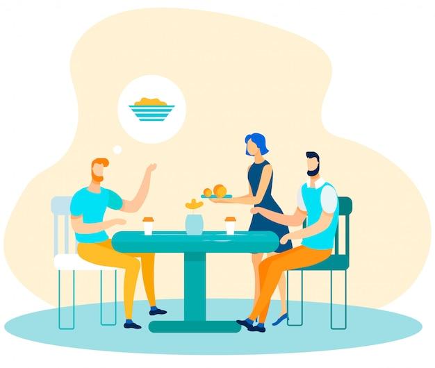 Mannelijke beambten die van lunchtijdbeeldverhaal genieten Premium Vector