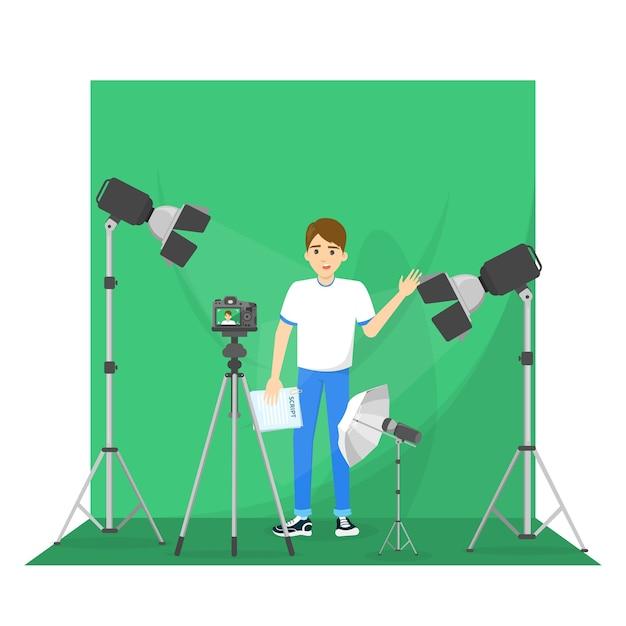 Mannelijke blogger die een video maakt voor de blog. Premium Vector