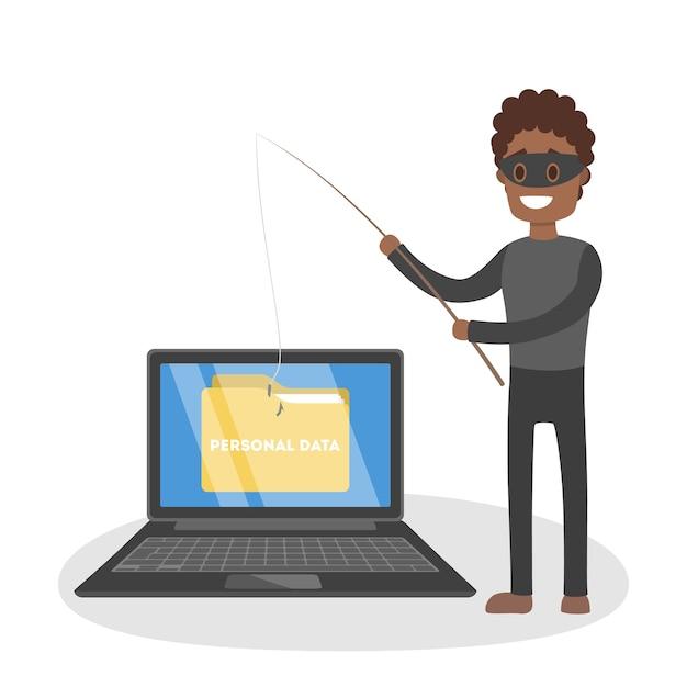 Mannelijke dief valt computer aan en steelt persoonlijke gegevens. digitaal veiligheidsconcept. illustratie Premium Vector