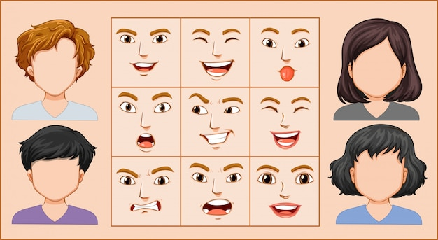 Mannelijke en vrouwelijke gezichtsuitdrukking Premium Vector