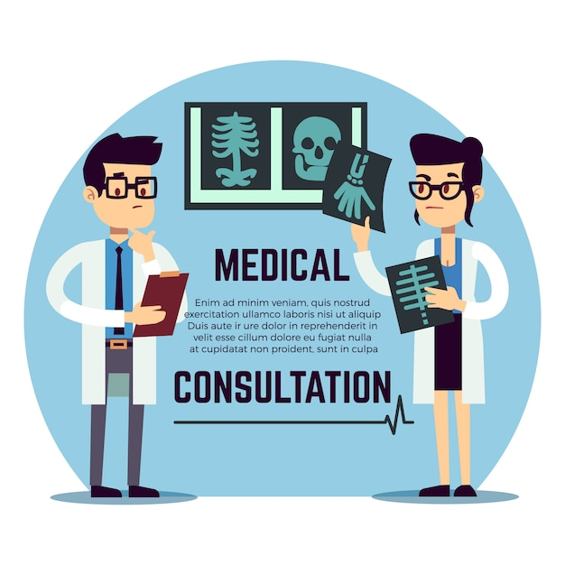 Mannelijke en vrouwelijke jonge artsendiagnose - medische raadpleging Premium Vector