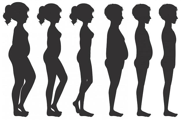 Mannelijke en vrouwelijke lichaamstransformatie Gratis Vector