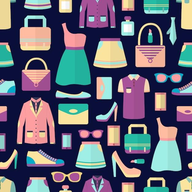 Mannelijke en vrouwelijke mode stijlvolle casual shopping accessoire naadloze patroon vector illustratie Gratis Vector