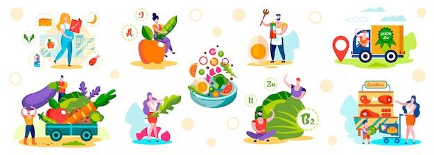 Mannelijke en vrouwelijke personages kies gezonde eco-voeding Premium Vector
