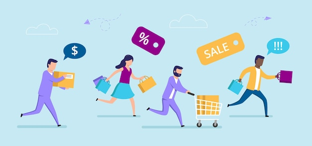 Mannelijke en vrouwelijke personages met winkelwagentje. verkoop concept cartoon samenstelling Premium Vector