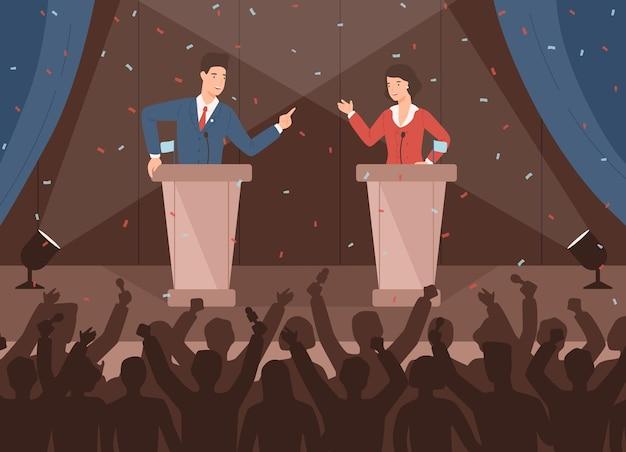 Mannelijke en vrouwelijke politici nemen deel aan politieke debatten voor publiek Premium Vector
