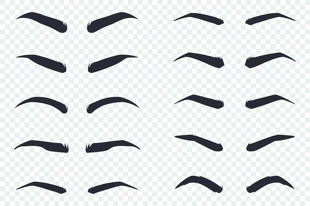 Mannelijke en vrouwelijke wenkbrauwen in verschillende vormen Premium Vector