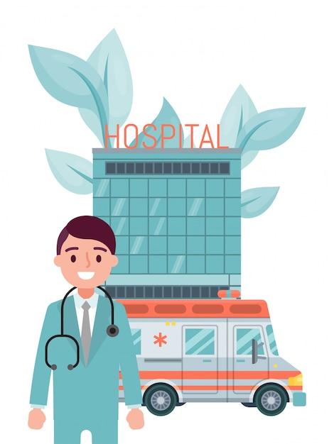 Mannelijke karakter professionele arts verblijf ziekenhuisgebouw, ambulance voertuig geïsoleerd op wit, illustratie. Premium Vector