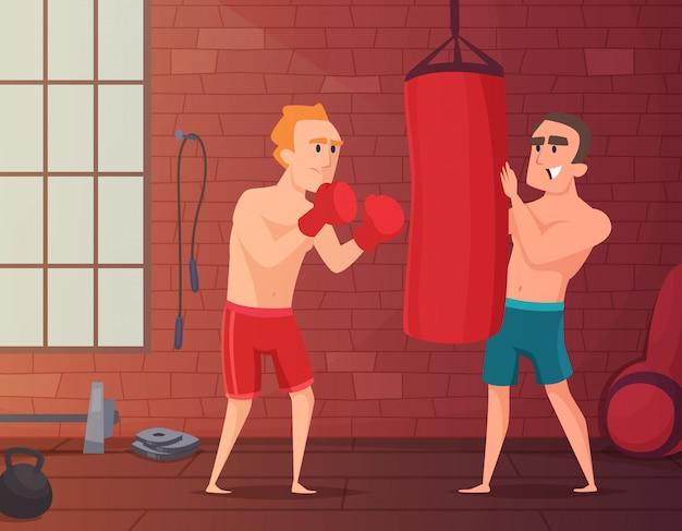 Mannelijke klappen aan bokszak in de sportschool. Premium Vector