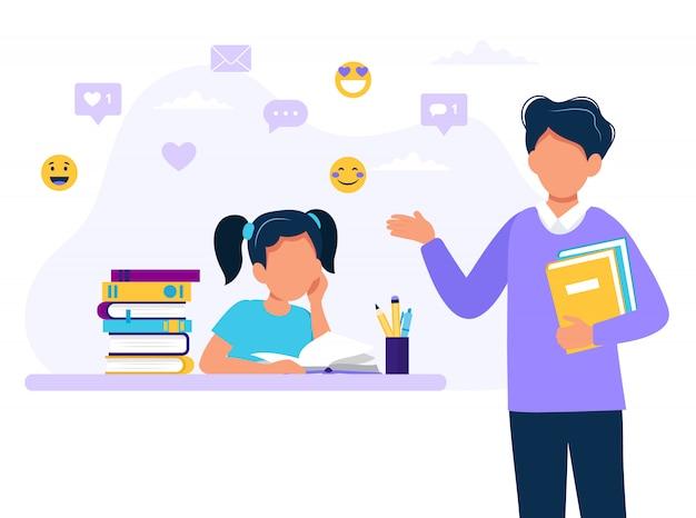 Mannelijke leraar en meisje studeren. Premium Vector