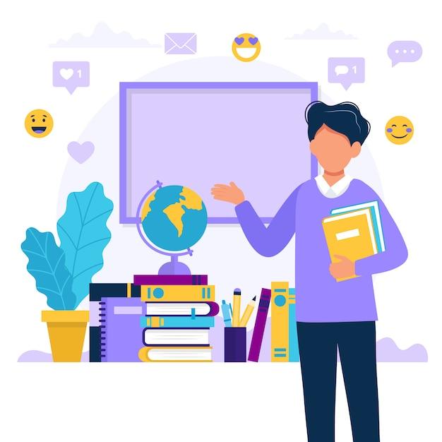Mannelijke leraar met boeken en schoolbord. Premium Vector