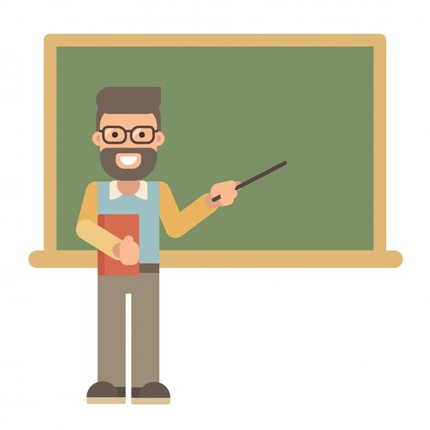 Mannelijke leraar met een boek en een wijzer dichtbij een bord Premium Vector