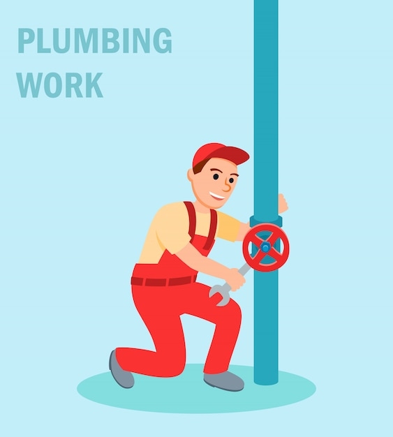 Mannelijke loodgieter met moersleutel reparatieklep Premium Vector