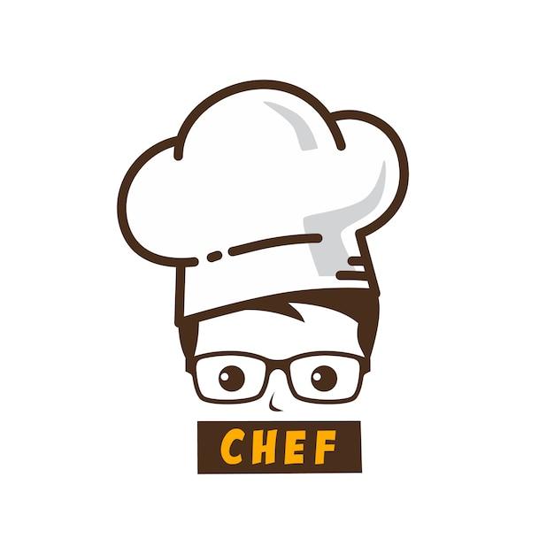 Mannelijke meester chef-kok karakter cartoon kunst logo pictogram Premium Vector