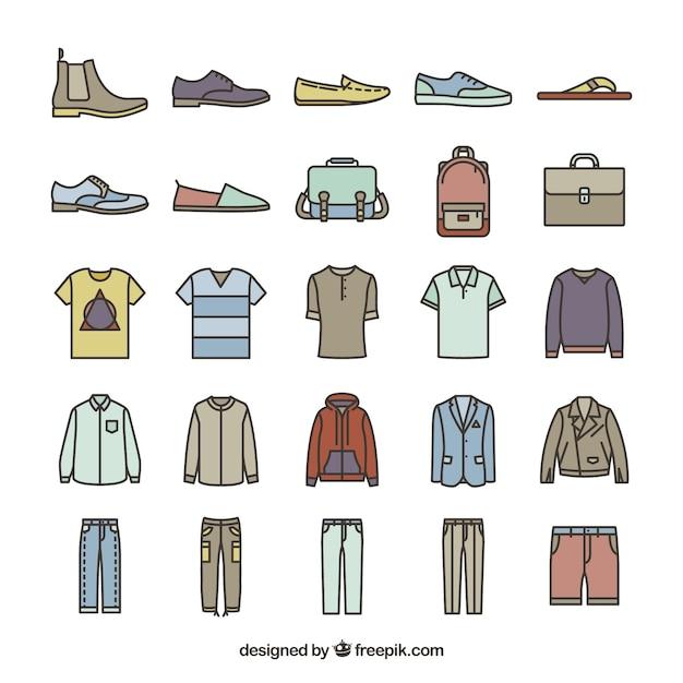 Mannelijke mode-iconen Gratis Vector