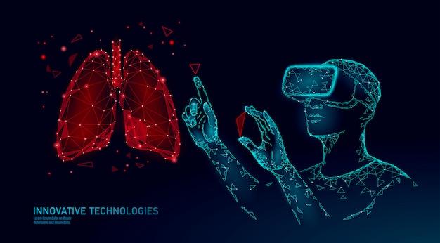 Mannelijke moderne arts opereert menselijke longkanker. laserbediening bij virtual reality. 3d vr headset augmented reality bril geneeskunde online digitaal Premium Vector