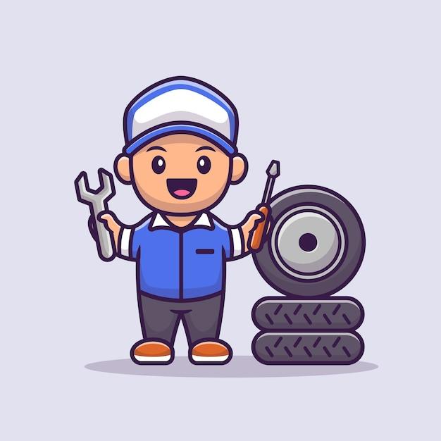 Mannelijke monteur cartoon afbeelding. mensen beroep pictogram concept Premium Vector