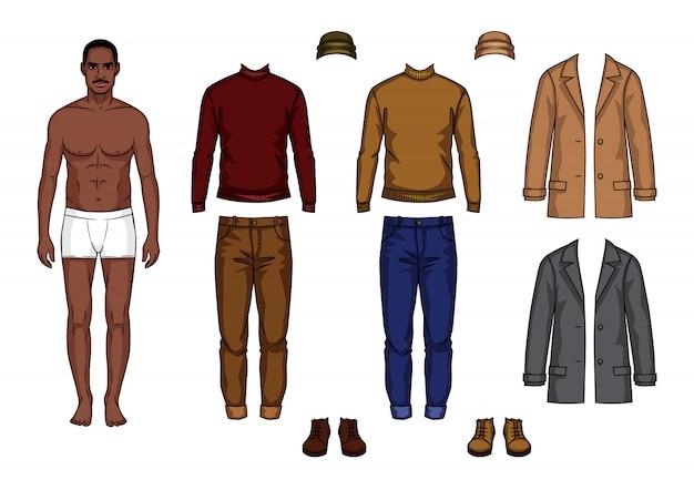 Mannelijke papieren pop met set van kleding Premium Vector