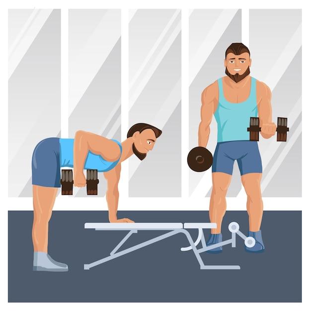 Mannelijke personages doen fitness illustratie Gratis Vector