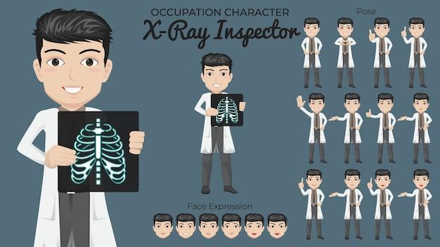 Mannelijke röntgen-tekenset met een verscheidenheid aan houding en gezichtsuitdrukking Premium Vector