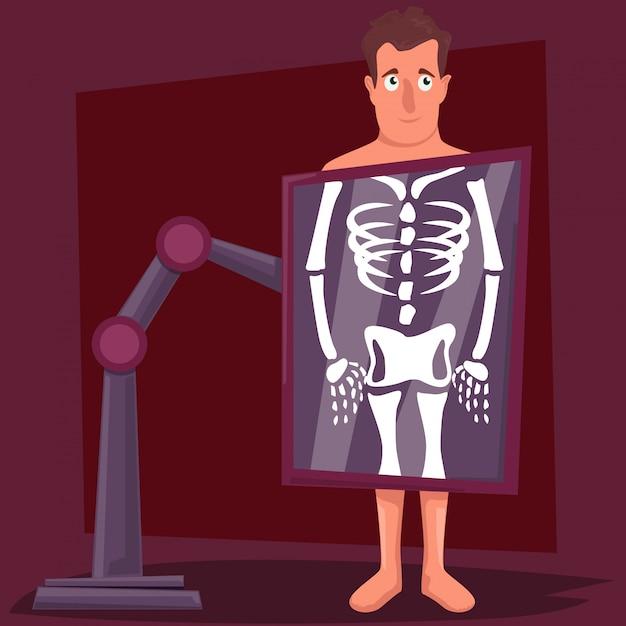 Mannelijke stripfiguur tijdens x-ray procedure Premium Vector
