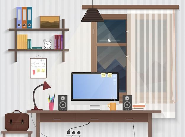 Mannelijke tienerruimte met werkplek Premium Vector