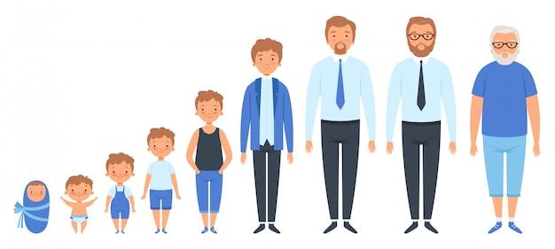 Mannelijke verschillende leeftijden. pasgeboren tiener man persoon oude grootvader volwassen volkeren clipart geïsoleerd Premium Vector
