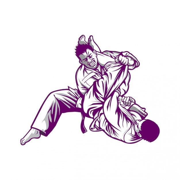 Mannen concurreren in karate Premium Vector