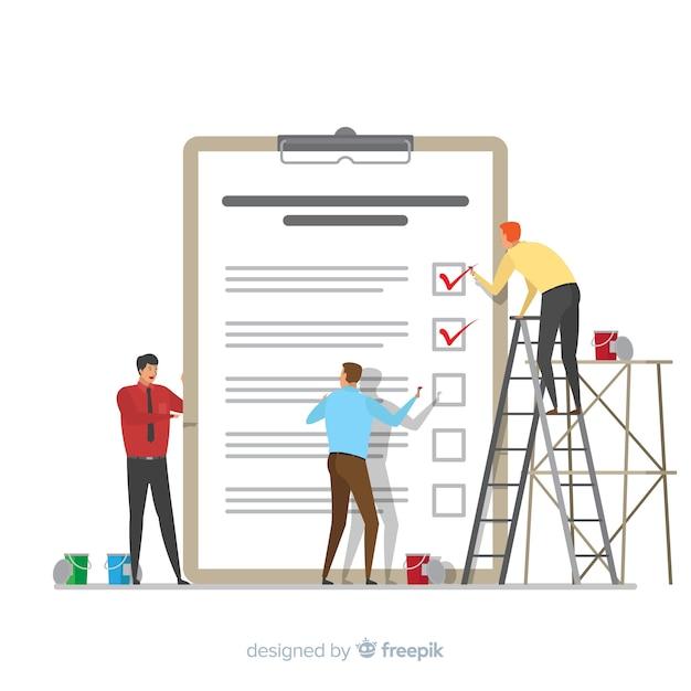 Mannen controleren gigantische checklist achtergrond Gratis Vector