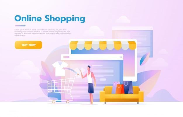 Mannen die mobiel winkelen gebruiken. mensen lopen in de winkel die eruitziet als een tabletcomputer. online winkelconcept. vector platte ontwerp illustratie. Premium Vector