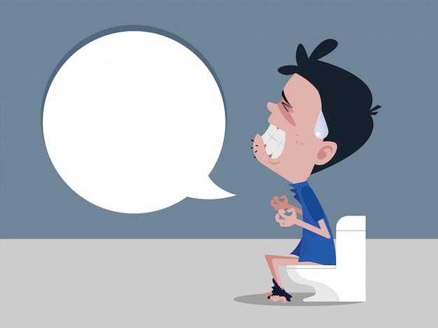 Mannen die op het toilet zitten en constipatie ervaren hevige buikpijn Premium Vector