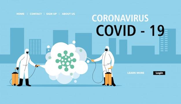 Mannen dragen een beschermend pak en reinigen en desinfecteren de stad door coronavirus of covid 19 Premium Vector
