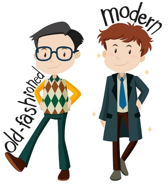 Mannen dragen ouderwetse en moderne kleding Gratis Vector