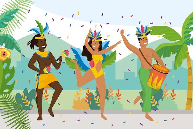Mannen en meisjes dansers met traditionele klederdracht Premium Vector