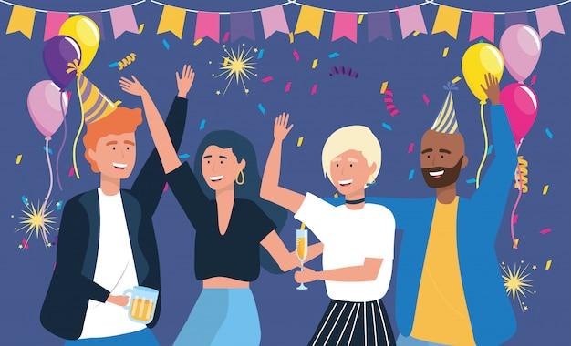 Mannen en vrouwen dansen met bier en champagne Gratis Vector