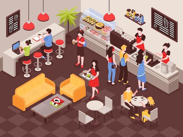Mannen en vrouwen die tot dranken in 3d isometrisch koffiehuis opdracht geven Gratis Vector