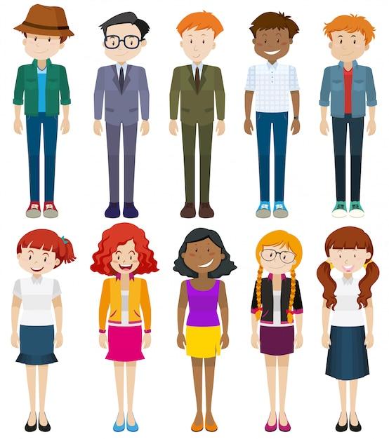 Mannen en vrouwen in verschillende kostuums Gratis Vector