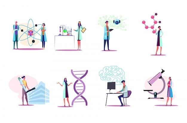 Mannen en vrouwen in witte jassen die in laboratoriumreeks werken Gratis Vector