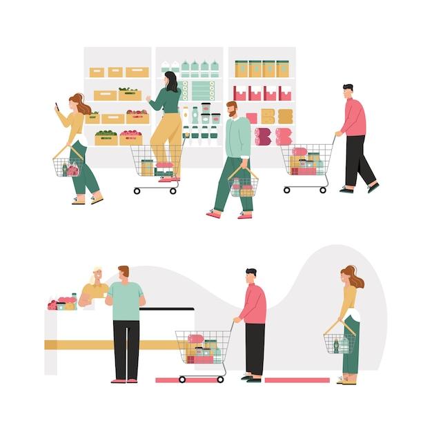 Mannen en vrouwen met manden of winkelwagentje kiezen producten, assortiment planken. Premium Vector