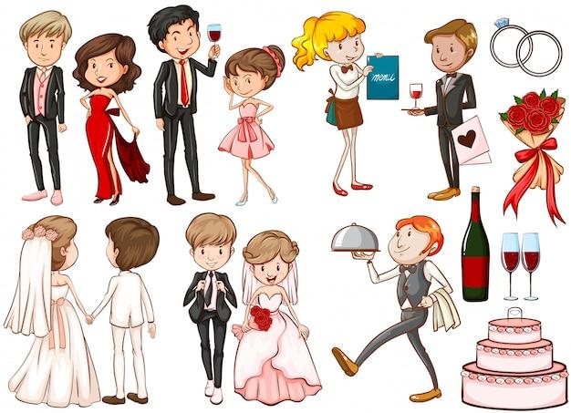 Mannen en vrouwen op het feest Gratis Vector
