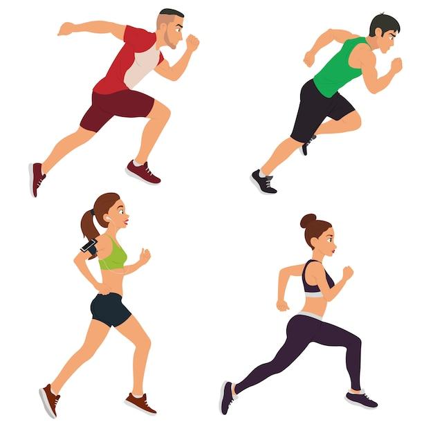 Mannen en vrouwen rennen. Premium Vector