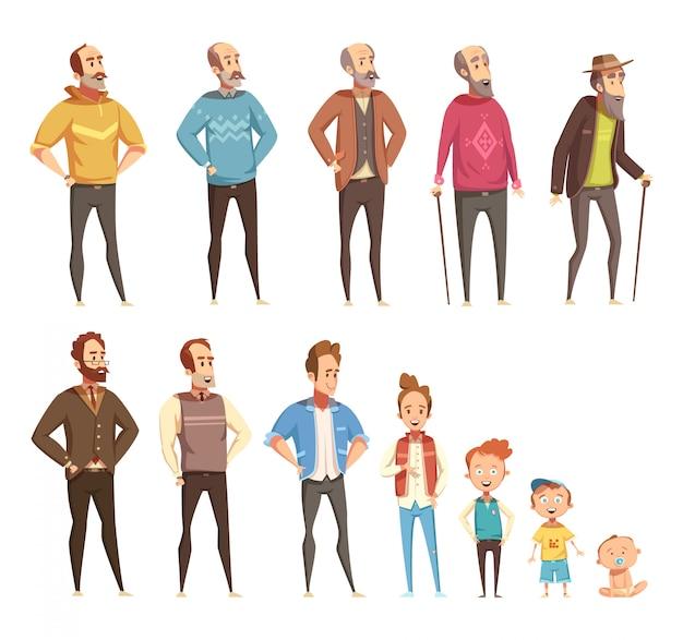 Mannen generatie platte gekleurde pictogrammen set van verschillende leeftijden van baby tot ouderen geïsoleerde cartoon vectorillustratie Gratis Vector