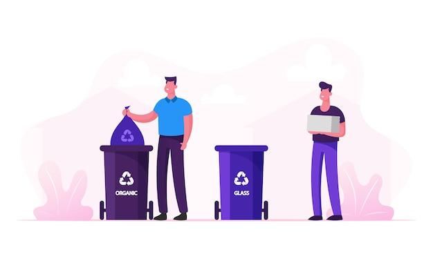 Mannen gooien afval in speciale containers met recyclebord voor plastic en organisch afval. cartoon vlakke afbeelding Premium Vector