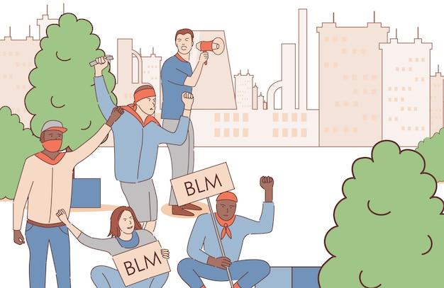 Mannen houden borden met black lives matter-woorden en protesteren in het cartoonoverzicht van het stadspark. Premium Vector