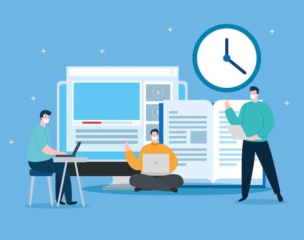 Mannen in het onderwijs online met computer illustratie ontwerp Gratis Vector